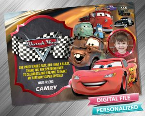 Cars Lighting McQueen and Mater Birthday Chalk Style Thank you Card with picture