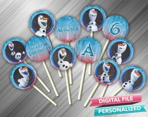 Olaf Frozen 2 Chalk Style Cupcake Toppers