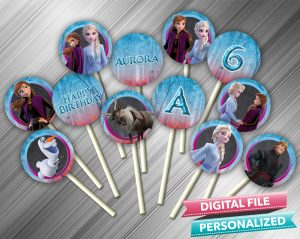 Frozen 2 Chalk Style Cupcake Toppers