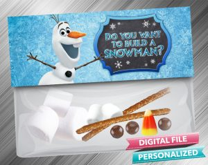 Do you want to build a Snowman Frozen 2 Chalk Style Treat Bag Toppers