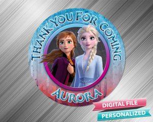 Frozen 2 Elsa Anna Chalk Style Favor Tag