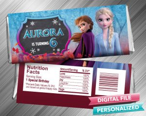 Frozen 2 Anna Elsa Chalk Style Hershey Candy Bar Wrapper