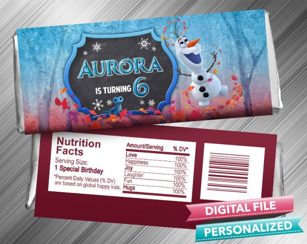 Olaf Frozen 2 Hershey Wrapper Candy Bar Birthday