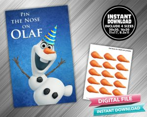 Pin The Nose On Olaf Birthday Game Frozen
