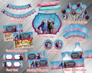 Frozen 2 Chalk Style Printable Birthday Package