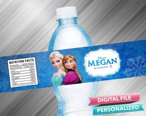 Frozen Anna Elsa Water Bottle Label