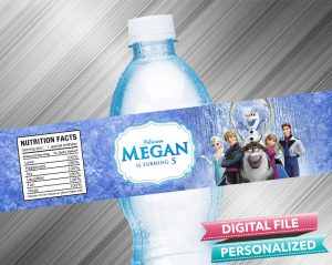 Frozen Birthday Water Bottle Label