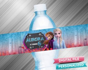 Frozen 2 Anna Elsa Chalk Style Birthday Water Bottle Label