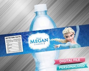 Frozen Elsa Water Bottle Label