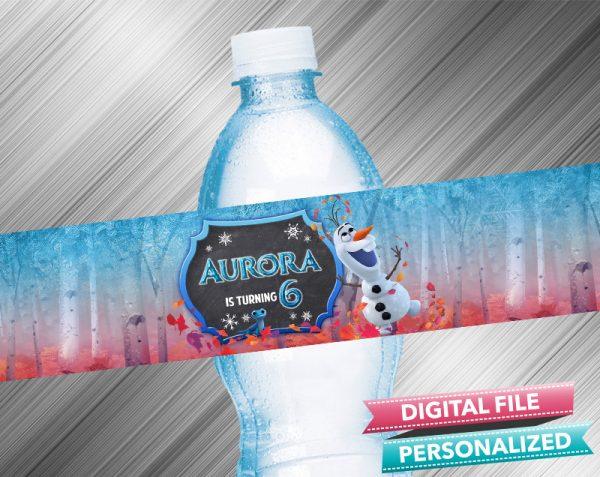 Olaf Chalk Style Birthday Water Bottle Label