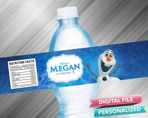 Frozen Olaf Birthday Water Bottle Label