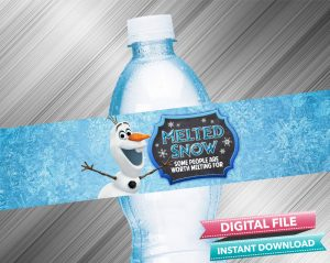 Olaf Melted Snow Birthday Water Bottle Label