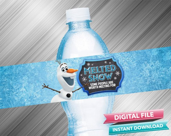 OLaf Melted Snow Frozen 2 Chalk Style Birthday Water Bottle Label