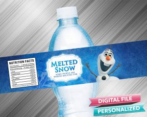 Olaf Melted Snow Water Bottle Label
