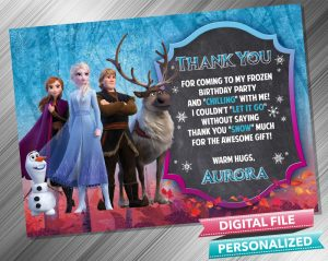 Frozen 2 Chalk Style Thank you Card