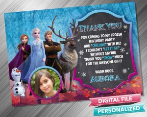Frozen 2 Chalk Style Thank you Card with picture