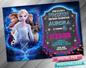 Frozen 2 Chalk Style Birthday Invitation