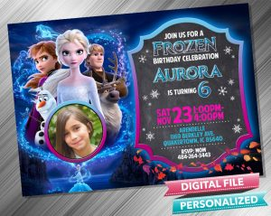 Frozen 2 Chalk Style Birthday Invitation with picture