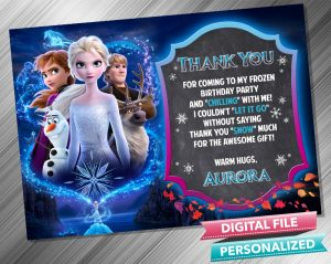 Frozen 2 Chalk Style Birthday Thank you Card
