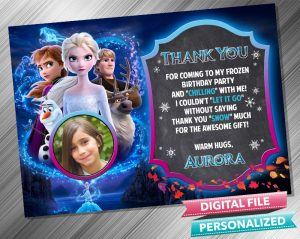 Frozen 2 Chalk Style Birthday Thank you Card with picture