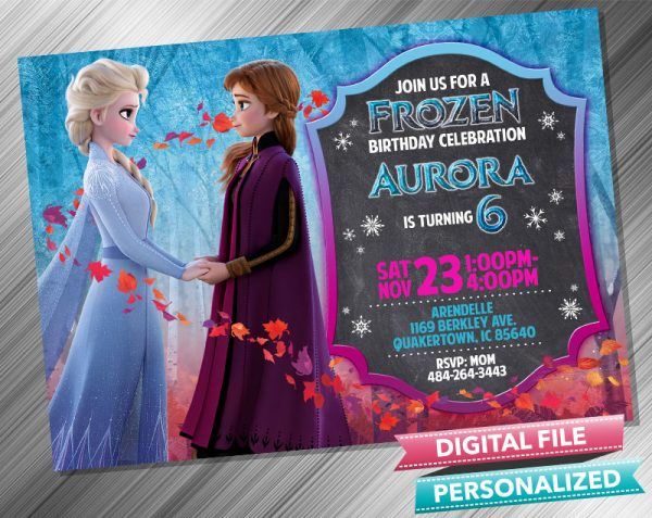 Elsa and Anna Chalk Birthday Invitation