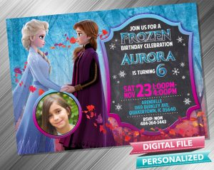 Elsa and Anna Chalk Invitation with picture