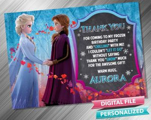 Elsa and Anna Chalk Thank you Card