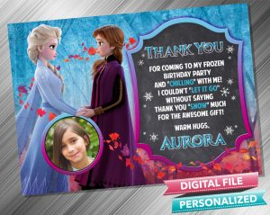 Elsa and Anna Chalk Thank you Card with picture