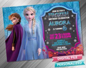 Elsa and Anna Chalk Birthday Invitation