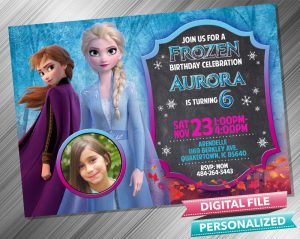 Elsa and Anna Chalk Birthday Invitation with picture