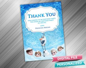 Frozen Birthday Thank you Card