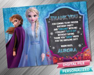 Elsa and Anna Chalk Birthday Thank you Card