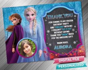 Elsa and Anna Chalk Birthday Thank you Card with picture