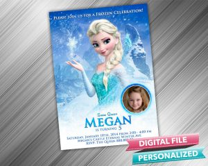 Frozen Snow Queen Elsa Invitation with picture