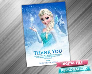 Frozen Snow Queen Elsa Thank you Card