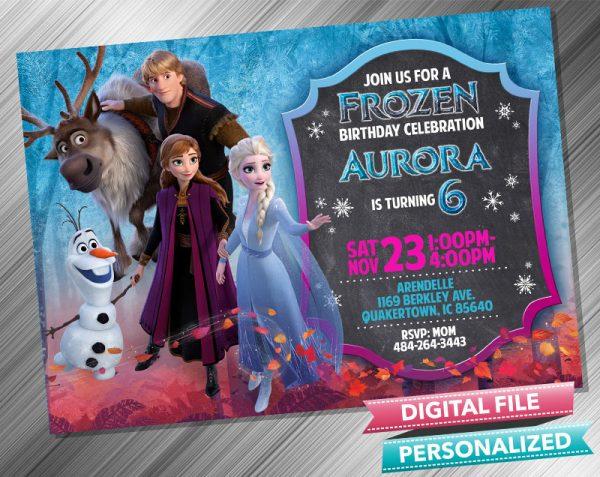 Frozen 2 Birthday Chalk Invitation