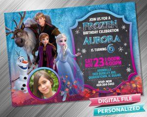 Elsa Anna Kristoff Chalk Invitation with picture
