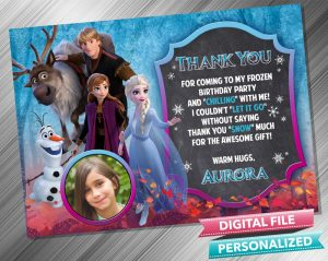Elsa Anna Kristoff Chalk Thank you Card with picture