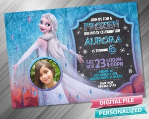 Elsa Transform Chalk Birthday Invitation with picture