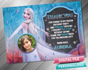 Elsa Transform Chalk Birthday Thank you Card with picture