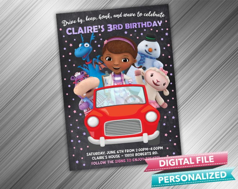 Drive by Doc McStuffins Invitation Birthday Parade Drive Through Birthday Party Quarantine Birthday Social Distancing Party Invitation