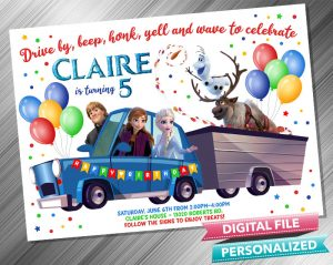 Drive by Frozen Invitation Birthday Parade Drive Through Birthday Party Quarantine Birthday Social Distancing Party Invitation