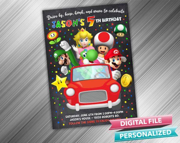 Drive by Super Mario Invitation Birthday Parade Drive Through Birthday Party Quarantine Birthday Social Distancing Party Invitation