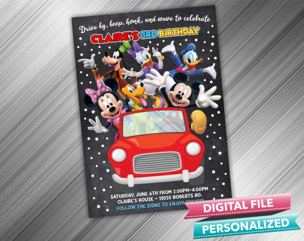 Drive by Mickey Mouse Invitation Birthday Parade Drive Through Birthday Party Quarantine Birthday Social Distancing Party Invitation