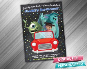 Drive by Monster Inc Invitation Birthday Parade Drive Through Birthday Party Quarantine Birthday Social Distancing Party Invitation