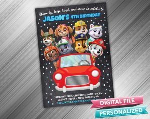 Drive by Paw Patrol Invitation Birthday Parade Drive Through Birthday Party Quarantine Birthday Social Distancing Party Invitation