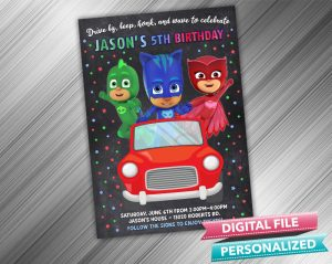 Drive by PJ Masks Invitation Birthday Parade Drive Through Birthday Party Quarantine Birthday Social Distancing Party Invitation