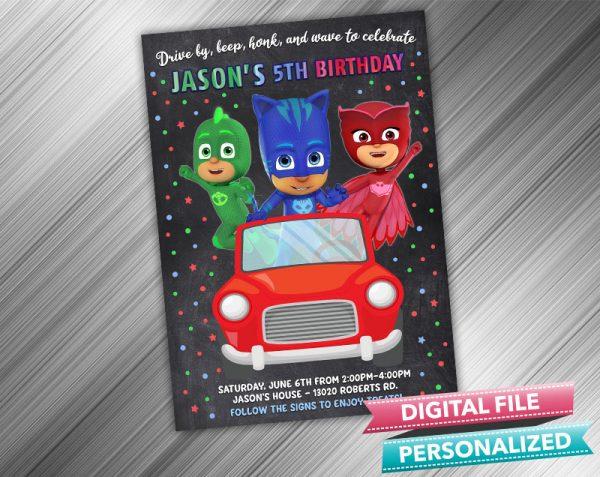 Drive by PJ Masks Invitation Birthday Parade Drive Through Birthday Party Quarantine Birthday Social Distancing Party Invitation