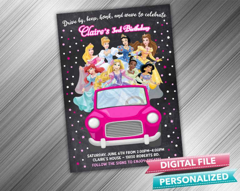 Drive by Disney Princess Invitation Birthday Parade Drive Through Birthday Party Quarantine Birthday Social Distancing Party Invitation