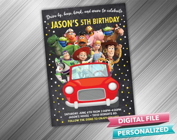 Drive by Toy Story Invitation Birthday Parade Drive Through Birthday Party Quarantine Birthday Social Distancing Party Invitation